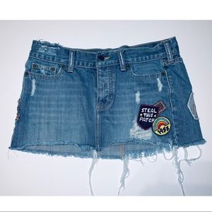 Hollister Jean Mini Skirt with Patches